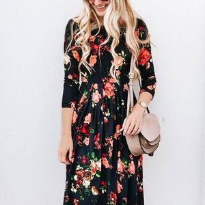 b4d288e6f4ed ... Black Floral Three-Quarter Sleeve A-Line Dress ...